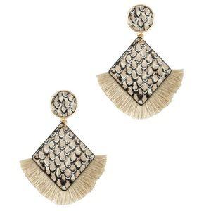 Diamond Snakeskin Print Tassel Earrings